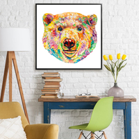 Polar Bear Colorful Modern Art Palette Knife Painting Texture Oil Painting On Canvas For Kids Living Room Decoration Wall