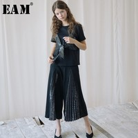 [EAM] 2018 New Summer High Waist Black Pleated Spit Joint Loose Wide Leg Long Pants Women Trousers Fashion Tide All macth JG353