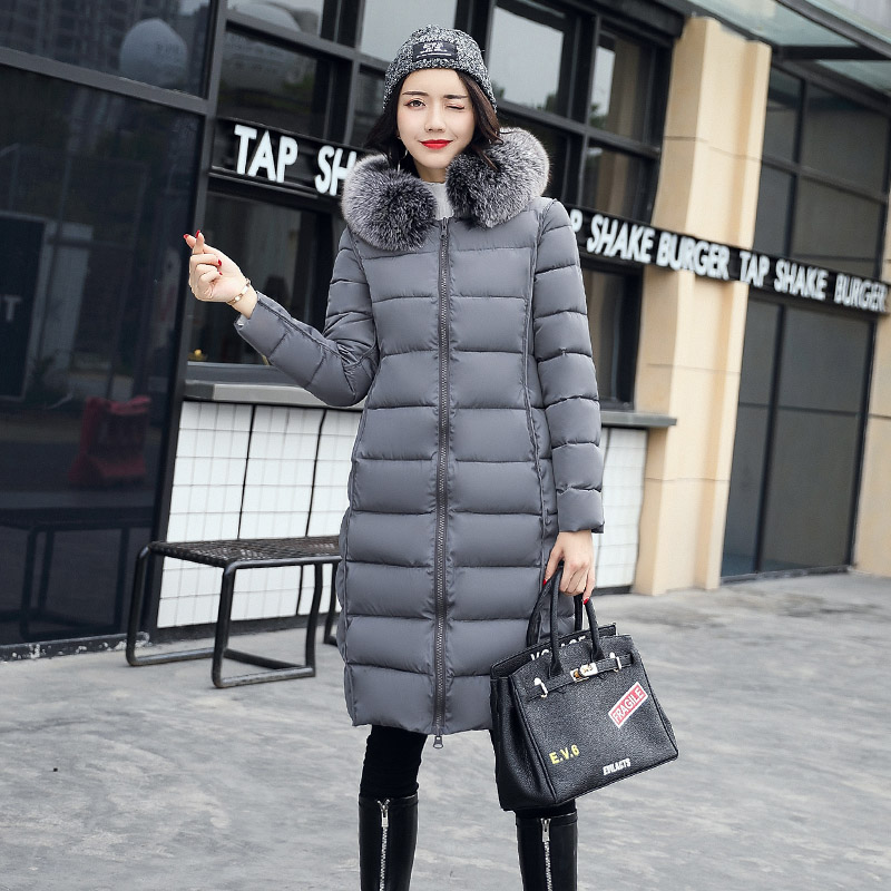 2017 Fashion Hooded Big Fur Collar Coats Winter Jacket Women Long Down Cotton Parka Winter Coat Women Warm Slim Outerwear XXXL women elegant winter warm long coat down padded jacket slim fur collar hooded parka coats 2017 female slim long parka with belt
