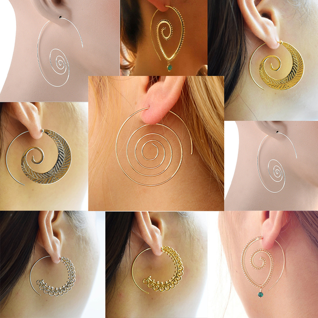 LNRRABC Vintage Women Hoop Earrings Circles Round Spiral Tribal Personality Chic Simple Earrings Jewelry Drop Shipping