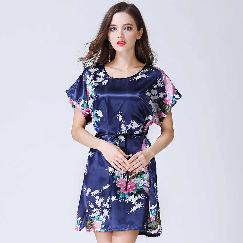 ... Summer Short Sleeve Sexy Women Silk Robe Lady Girl Nightgown Floral  Peacock Print Pajamas Female Loungewear ... 6f5e0a077