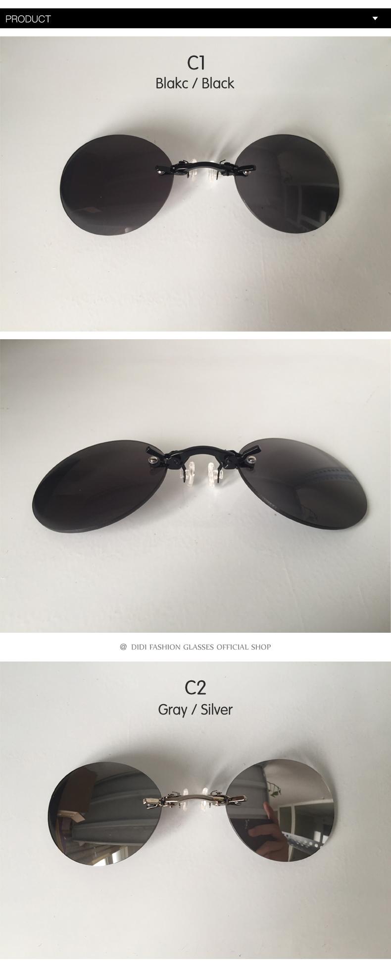 HTB1eykIdbsTMeJjSszgq6ycpFXa1 - DIDI Small Round Clip On Nose Mini Sunglasses Men Brand Cool Steampunk Sun Glasses Women Vintage Metal Black Coating Gafas H689