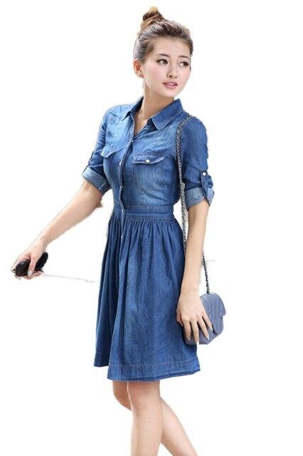 2015 Spring Autumn Casual-Dress Ladies Plus Size Blue Denim Dress Half  Sleeve Pleated Jeans Dresses Vestidos Mujer M-XXL SJM 96d8ee0c298d