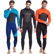 Combinaison de plongée à manches longues en néoprène de 3mm, costume de plongée à manches longues pour hommes, idéal pour natation/plongée sous marine/Snorkeling/surf Orange