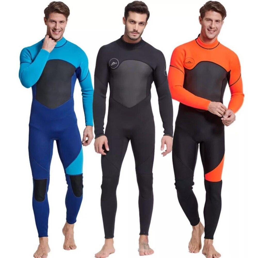 Fato de mergulho de corpo inteiro masculino, 3mm homem neoprene manga comprida-perfeito para natação/mergulho/snorkeling/surf laranja