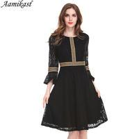 Aamikast Autumn Winter Womens Vintage Lace Dress Elegant Vintage Ruffle Tunic Fit Flare Party Club Casual Business Lady Dress