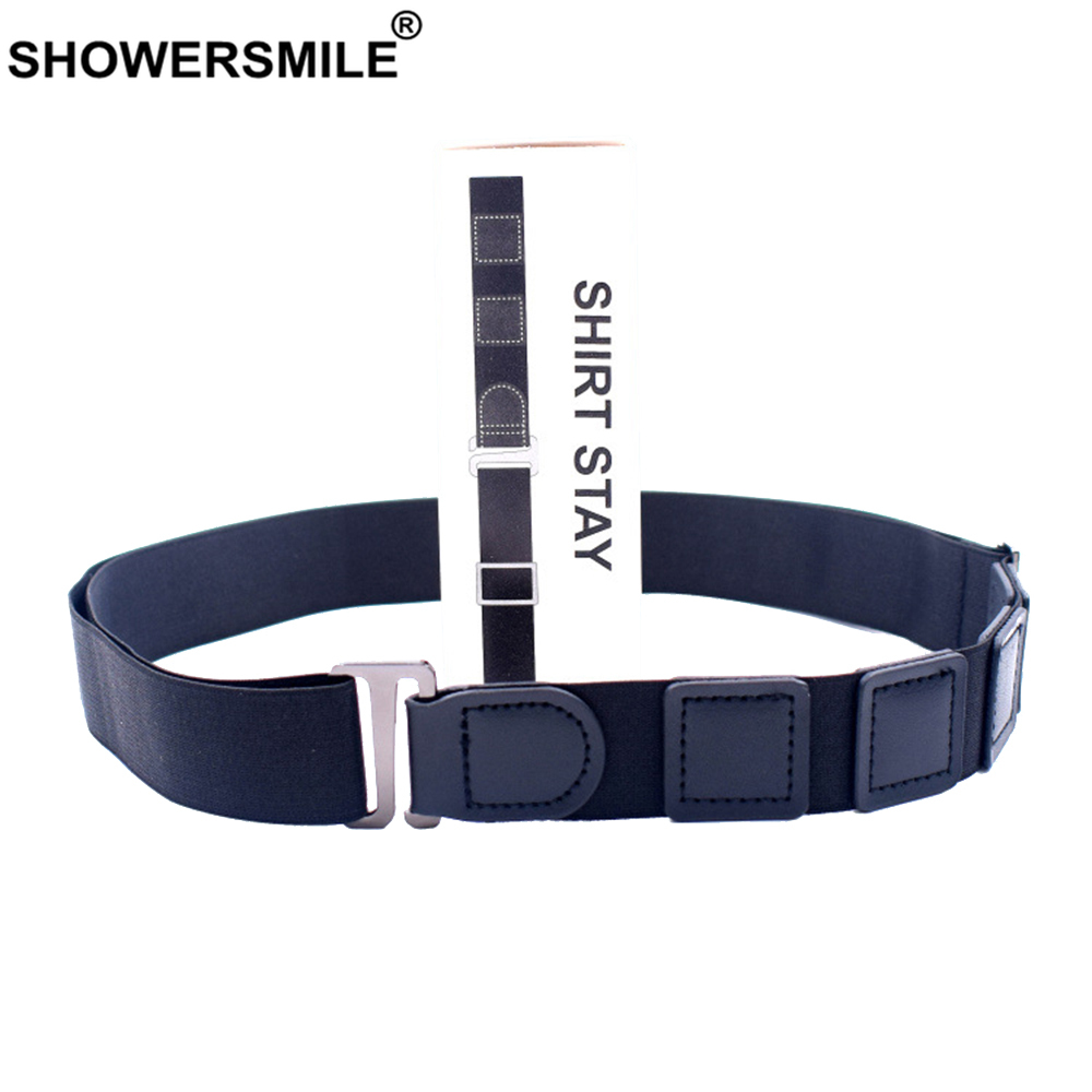 SHOWERSMILE Shirt Tuck Belt Leather Adult Shirt Belt Men Adjustable Formal Work Interview Women Shirt Suspenders Black Unisex