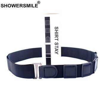 SHOWERSMILE Shirt Tuck Belt Leather Adult Men Adjustable Formal Work Interview Women Suspenders Black Unisex