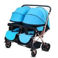 2017 высококачественные близнецов Детские коляски poussette двойной мест ребенка тележка Портативный складной может сидеть и лежат Детские коля