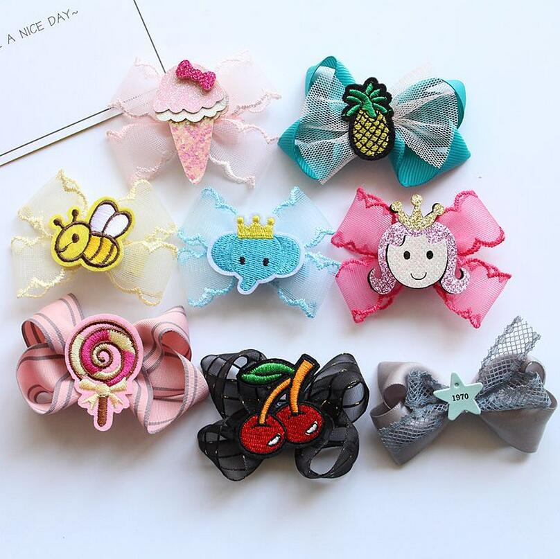 2PCS Chiffon hair bow kids girl princess Hair Clip Toddlers embroider animal fruit barrette 3.15