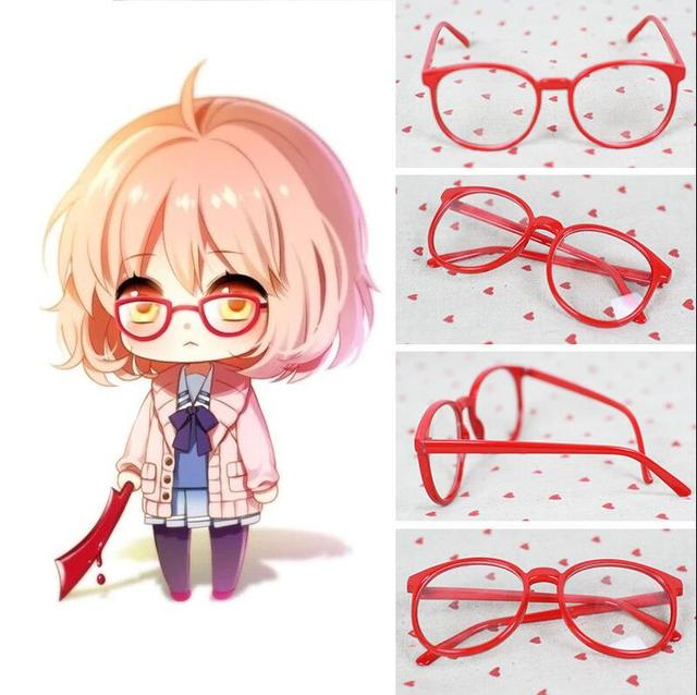 Cute Girl Glasses Wallpaper Kyoukai No Kanata Kuriyama Mirai Red Round Glasses Cosplay