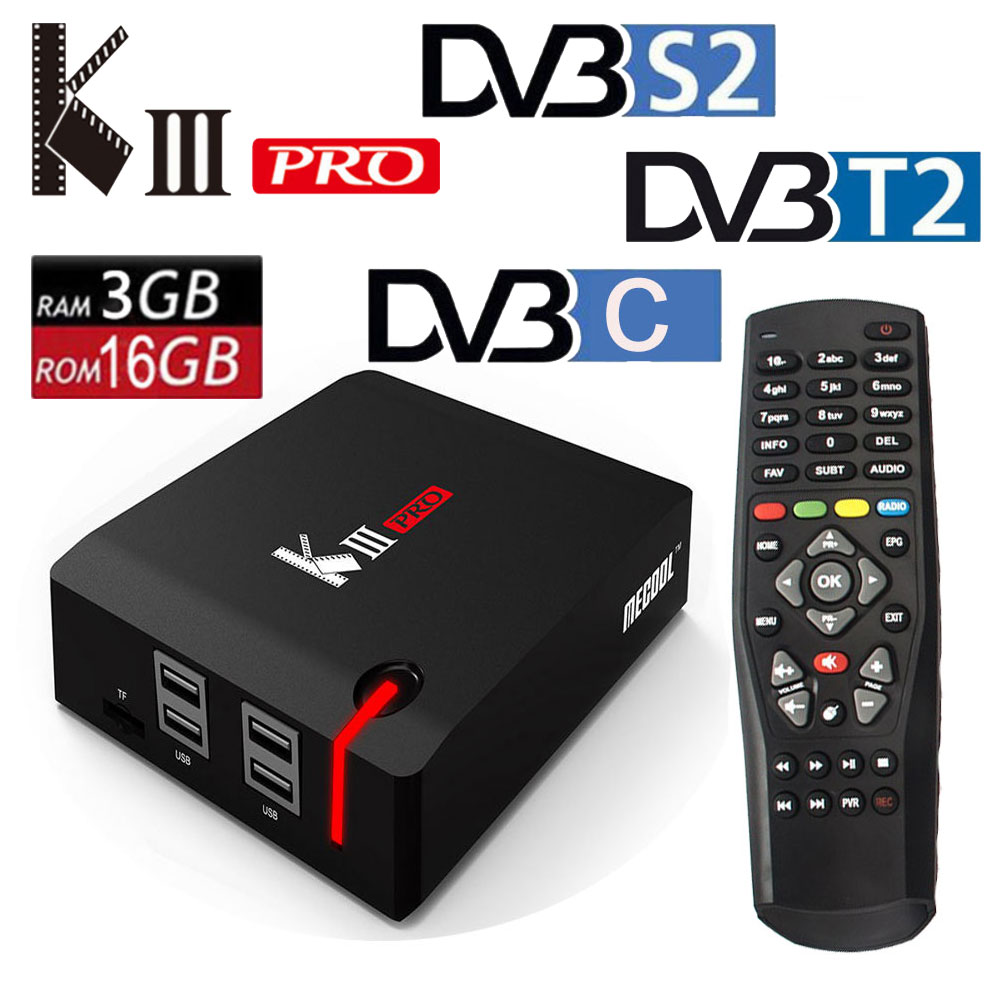 D'origine MECOOL KIII PRO Android 7.1 TV Box DVB T2 DVB S2 DVB C 3g/16g Smart media Player Amlogic S912 Octa base 2.4g/5g Wifi 4 k
