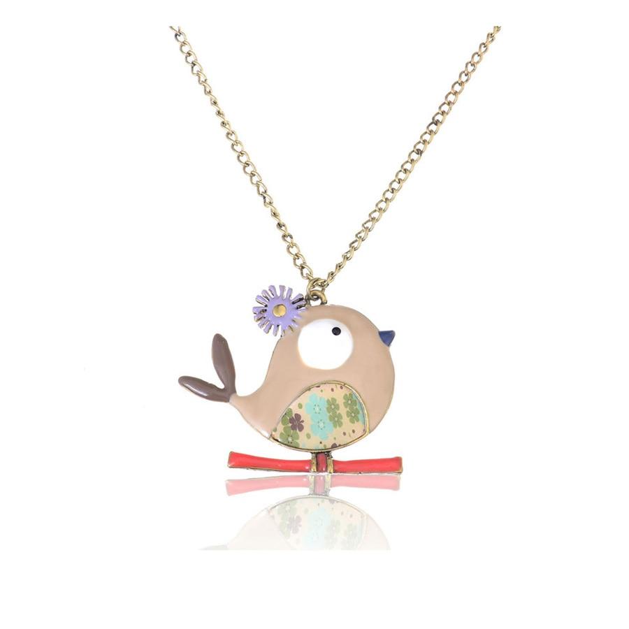 Fashion Animal Bird Necklace Pendants Handmade Enamel Pendant Necklace Classic Female Jewelry Long Zinc Alloy Chain Accessories in Pendant Necklaces from Jewelry Accessories