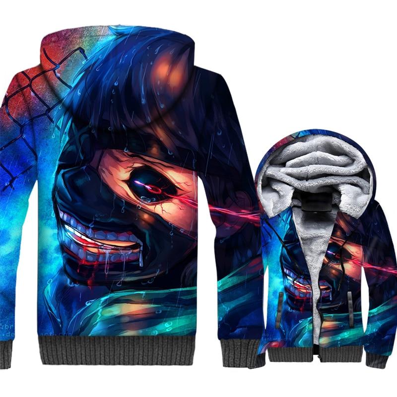Tokyo Ghoul Jacket Men Ken Kaneki Hoodie Sweatshirt Winter Thick Fleece Warm Zipper 3D Print Harajuku Coat Hip Hop Sweatshirt