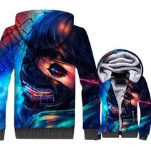 Tokyo Ghoul Jacket Men Ken Kaneki Hoodie Sweatshirt Winter Thick Fleece Warm Zipper 3D Print Harajuku Coat Hip Hop Sweatshirt tokyo ghoul hoodie anime ken kaneki cosplay zipper cotton black hooded jacket coat sweatshirt