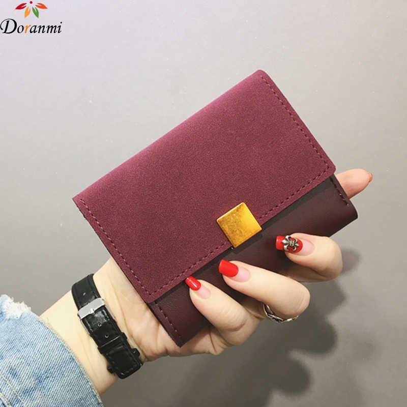 cb55b573896e DORANMI квадратный металлический короткий кошелек 2018 женский кошелек Сумка  замшевая кожаная сумка для денег монета зажим