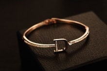 Rose D Letter Cuff Crystal Bracelets angles