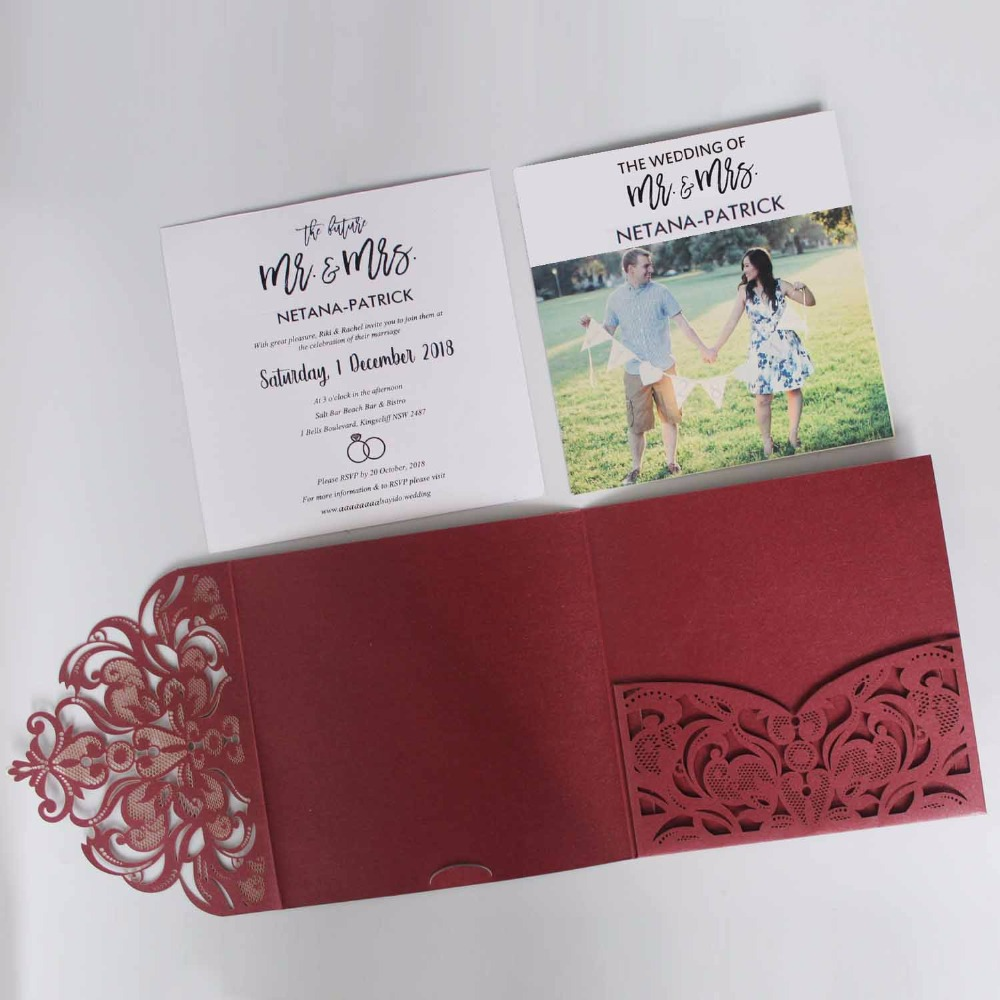 Us 115 0 Elegant Laser Cut Wedding Invitation Set Burgundy Pocket Fold Unique Invite With Photo Of 50 Pcs In Cards