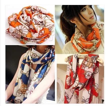 Осенне-зимний колесики шелковый шарф с рисунком шифоновый шелковый шарф плюс размер шарф женский