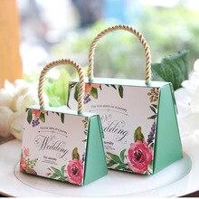 Hot!50pcs Wedding Gift Box Creative European Hand Candy Bag Souvenir Paper Decoration Party Supplies