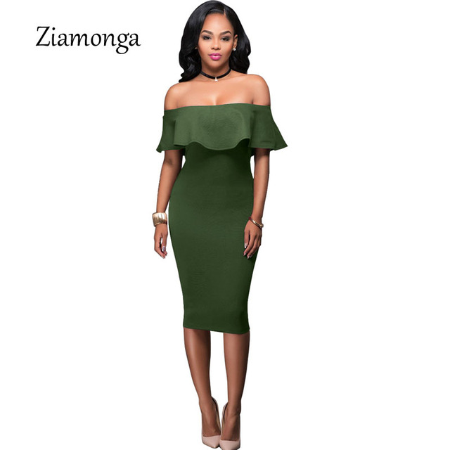 baf05fb44fd7 Ziamonga Summer 2017 Women Off Shoulder Dress Vintage Ruffle Blue Wine Red  Sexy Bodycon Dress Club Wear Tight Wrap Party Dresses