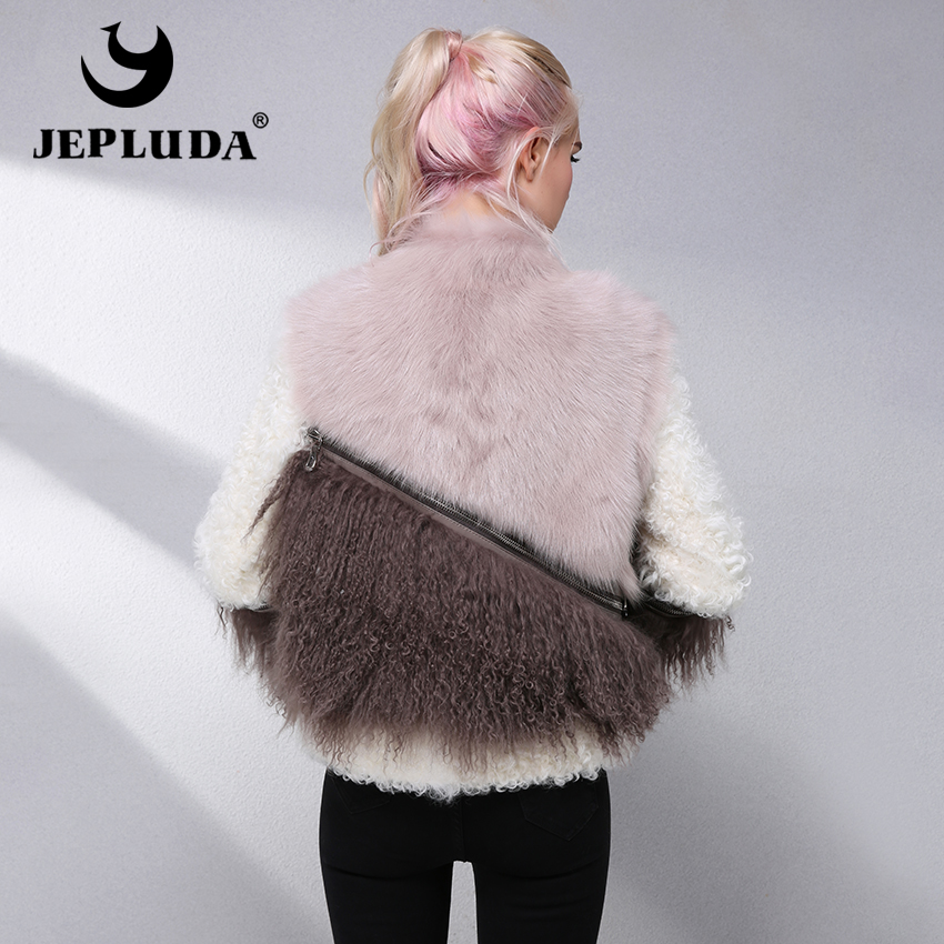 Jepluda Véritable Femmes Manteau Toscane Cuir D'hiver Réel Vêtements Mouton Fourrure Zipper Multi D'agneau Peau En Naturel De Veste 8Xqwpr8S