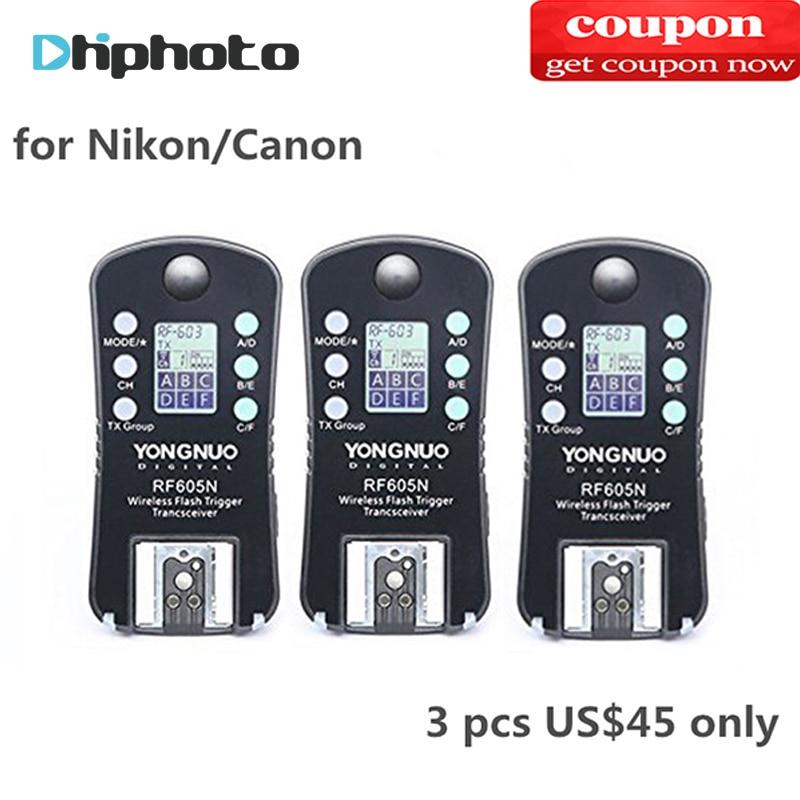 3PCS YONGNUO RF-605C RF605C RF605N RF-605N Wireless Flash Trigger for Canon Nikon compatible RF603II YN560IV YN685 YN660 YN560II