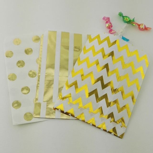 Free Shipping 100pcs Foil Gold Candy Bags In Chevron Polka Dot And Stripe Cake Sweet
