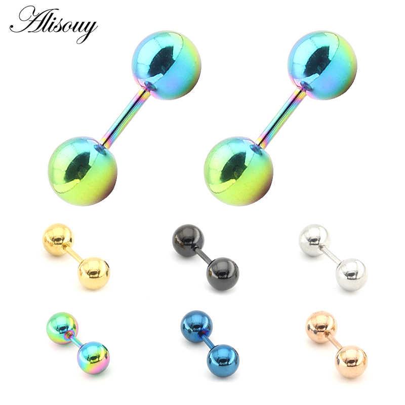 Alisouy 2 יחידות אוזן סחוס Tragus עגיל נירוסטה פירסינג סליל משקולת נשים גברים עגיל שפתיים פירסינג גוף תכשיטים