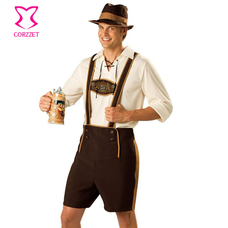 Corzzet Oktoberfest Costume Lederhosen Bavarian Octoberfest German Festival  Beer Cospaly Halloween For Men Plus Size Clothing