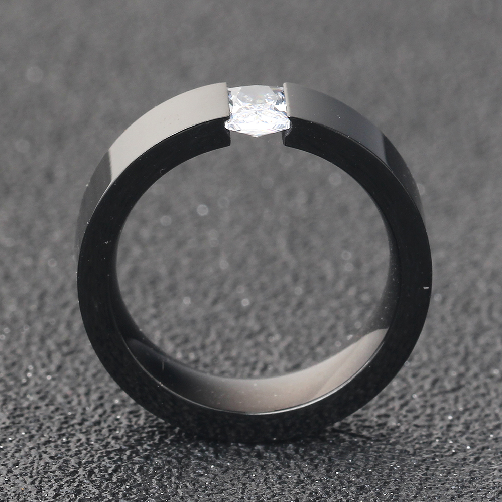 Fashion Crystal Zircon Jewelry Two Color Plated Ring Classic 316L Stainless Steel Rings For Women Men