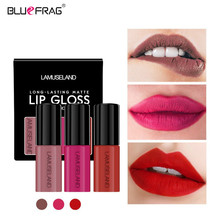 цены 3Pcs Lip Gloss Matte Set Red Lip Matte Liquid Wine Lipstick Lips Tattoo Paint Pigments Long-lasting Lip Gloss Stick Tint Makeup