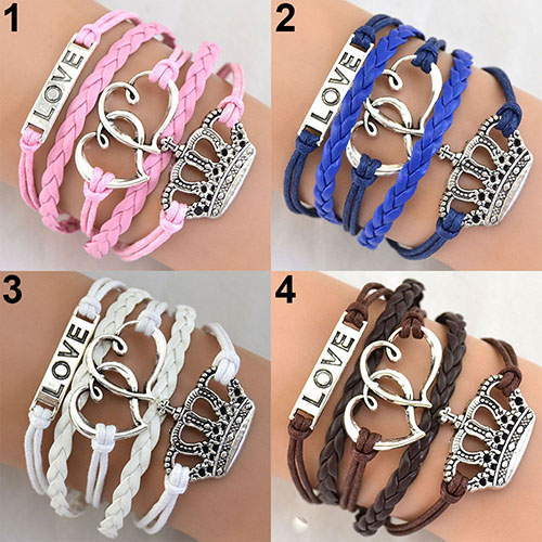 Women's Multi-layer Braided Double Heart Love Crown Faux Leather Bangle Bracelet