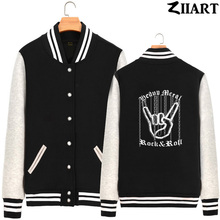 Chain Hand Gesture Heavy Metal Rock N Roll Corna Devils Horns Man Boys Full Zip Autumn Winter Fleece Baseball jackets ZIIART