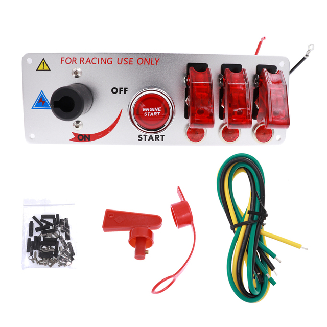Red LED Toggle Car Ignition Switch Panel with 2/4 Toggle fit for Racing Car Engine Start Push Button 12V Switch Panel