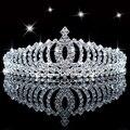 Nova Brilhante de Cristal Strass Tiara de Prata Festa de Casamento faixas de Cabelo Tiara de Noiva Acessórios Para o Cabelo Flor Meninas Hairwear