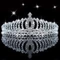 Nueva Shiny Crystal Rhinestone Silver Wedding Party Tiara Diadema cintas para el Pelo de Flores Accesorios Para el Cabello Niñas Hairwear