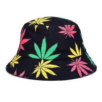 74da94b57a334 Impresión de hoja de arce de Panamá sombrero de los hombres de las mujeres  de la calle de Hip Hop gorra par plana pescador sombreros de verano  protector ...