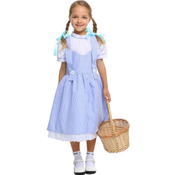 girl kid Classic blue White Apron Maid Sexy Dress Women Maidservant Costume  Halloween Purim Cosplay Costume long dress A128 4a7b4880884e