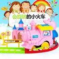 16 pçs/set Novo Multi Crianças Pretend Play Brinquedos Dos Desenhos Animados Porco Cor de Rosa Em Trem trilha Conjunto de Jogo Brinquedo para Crianças Dia Das Bruxas Presente Melhor Escolha