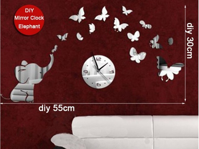 New Arrival Elephant And Butterfly Mirror Wall Art Clock Decal 3D Best Wall  Watch Home Decoration Photo Gallery