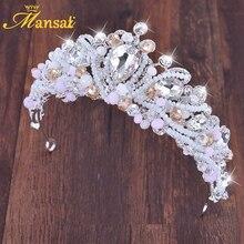High-end 100% Handmade Crystal Crown Bridal Hair Accessories Simulated Pearls Wedding Diadem Hair Jewelry Girls Tiaras HG308