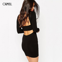 ORMELL Women Vintage Black V Neck Dress Sexy Vestido Feminina Casual Slim Fit Sheath Long Sleeve