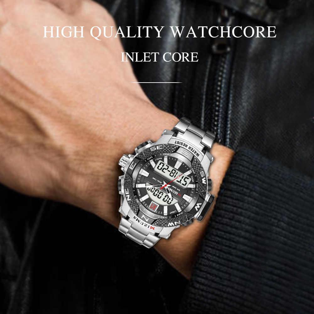 MIZUMS Модные мужские военные спортивные часы мужские золотые кварцевые аналоговые светодиодный мужские водонепроницаемые наручные часы relogio masculino
