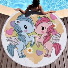 Lovely Cartoon Unicorn Print Round Large Beach Towel Microfiber Tassel Blanket Picnic Wall Tapestry Sport Yoga Mat Bath