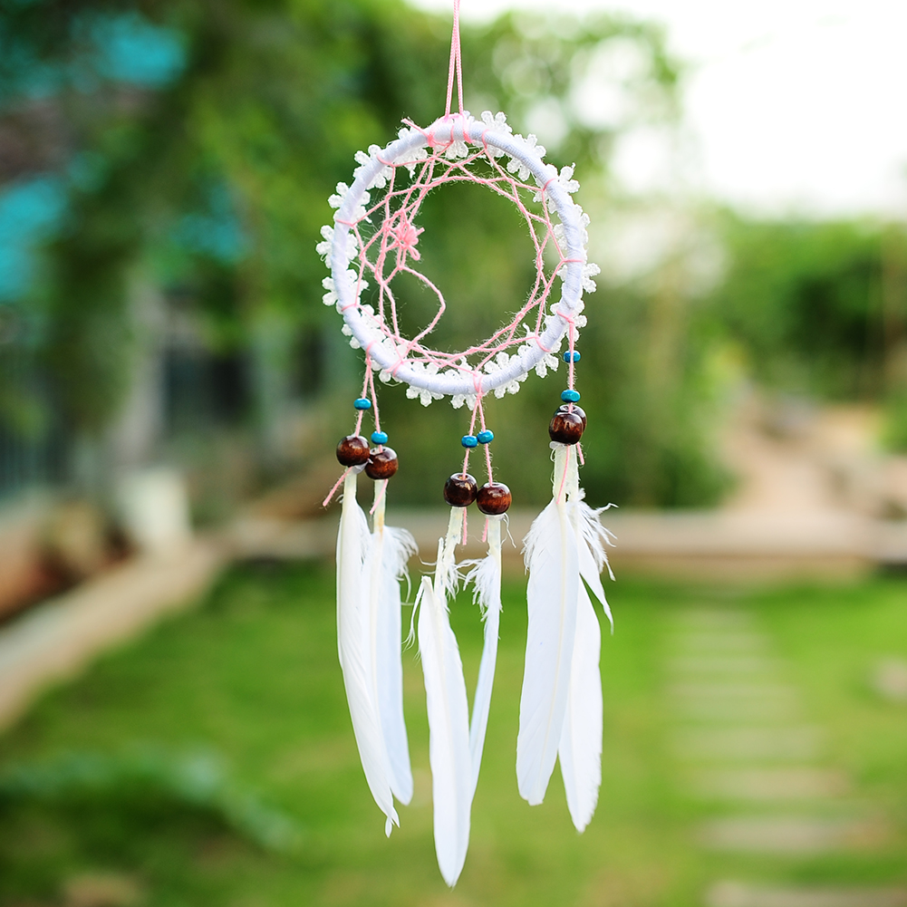 2016 mini white flower dream catcher circular net with for Art for decoration and ornamentation