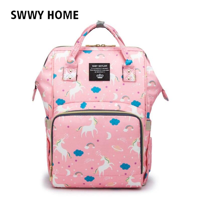Brand Women mochila Kanken Backpack Unicorn Print Bags for Women 2018 Large  Capacity Oxford Waterproof Mom aacee7de03987