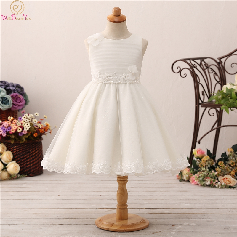 Lovely Tea Length Ball Gown   Flower     Girls     Dresses   For Wedding Fluffy Appliques With Beauty Bow Back First Communion vestido Gowns