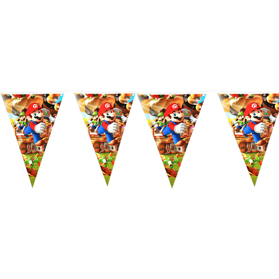 1set New Super Mario Theme Party Cups Super Mario Paper Flags Banner Kids Birthday Party Decorations Mario Bros Party Supplies
