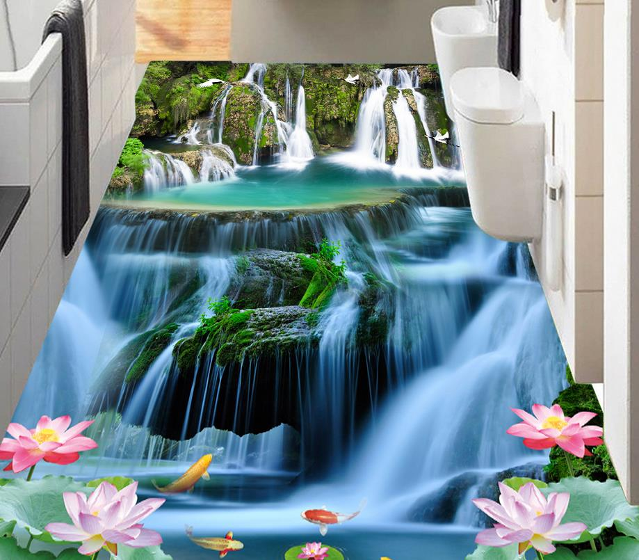 3d floor wallpaper custom 3d stereoscopic Carp lotus waterfall mural wallpaper 3d pvc flooring waterproof for bathroom free shipping new high quality waterproof pvc 65cm 30cm family wallpaper roll mural for bathroom